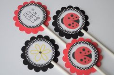 12 Cupcake Toppers Ladybug Personalized  by sosweetpartyshop, $10.00