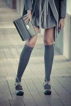 long socks with heels and I like the outfit