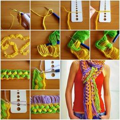 This is something new for me, crochet and braid is combined, and ruler can be used in this project, too. This technique is great to add different colors on