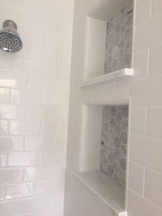 White subway tile in master shower Master Bathroom Reveal: dual shower cubbies Upstairs Bathrooms, Basement Bathroom, Small Bathrooms, Master Bathrooms, White Tile Bathrooms, Modern Bathroom, Master Baths, Basement Walls, Luxury Bathrooms