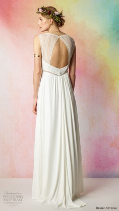 rembo styling 2017 bridal sleeveless lace strap v neck simple bohemian grecian modified a  line wedding dress keyhole back sweep train (faubourg) bv