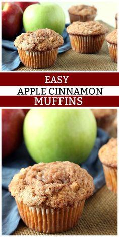 Easy Apple Cinnamon Muffins recipe from RecipeGirl.com #easy #apple #cinnamon #muffins #recipe #RecipeGirl via @recipegirl