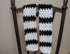 Black and White Crocheted Scarf by TimeForCrochet on Etsy, $18.00