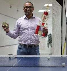We have a table tennis table in the office...and Rahul has won trophies for us two years in a row in the ping pong fight club championship!