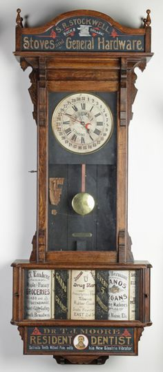 Advertising Clock; Sidney Clock Co, Revolving Drums, Stockwell Hardware, Wall, 69 inch.