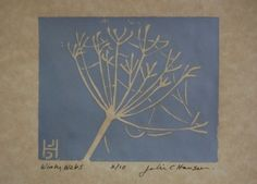 Botanical linocut print of a Queen Anne's Lace flower head with spider webs