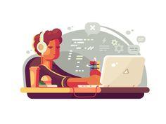 Web developer works on laptop illustration