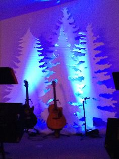 Foam cut Christmas trees for our stage at Abundant Life Church Eagle River Wi DIY