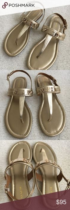 COACH thong sandals.      NWOT Gold leather thong sandals with gold tone hardware. Coach Shoes Sandals