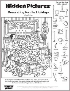 Decorating for the Holidays Hidden Pictures Puzzle: