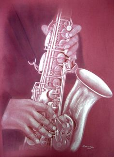 Saxophoniste - Swaze, peintre pastelliste