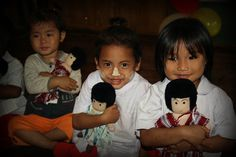 Every year before Christmas WEAVE donates dolls to schools on Tha-Burma border. For each 2 dolls sold one is given to a child in the refugee camp