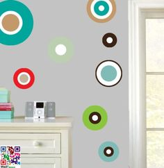 Fun Retro Circles - Pack of 22 - Repositionable Wall Art Vinyl Stickers - Easy Peel & Stick Stickers on Your Wall