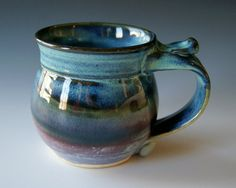 Glazed Pottery Coffee Mug Handmade Wheel Thrown by riverstonepottery
