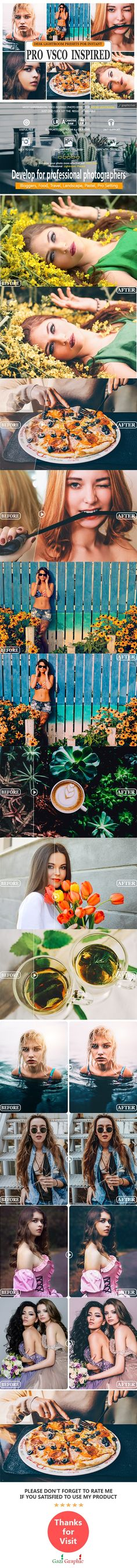 Buy Pro Vsco Inspired Lightroom Presets by Gazi_Graphic on GraphicRiver. Pro Vsco Inspired Lightroom Presets: Gladly presenting a collection of Pro Vsco Inspired LR presets for Adobe Lightro. Professional Lightroom Presets, Adobe Photoshop Lightroom, Photoshop Actions, Vsco Presets, Photography Filters, Perfect Photo, Photo Editing, Inspired