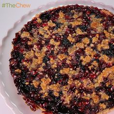 Cranberry Cherry Tart with Almond Crumble on top, by Mario Batali! #TheChew (Made this for Thanksgiving today/Meli). This was gobbled up so fast that I should have made 2 of them! Everyone raved about it! The only change I made was to use a regular pie crust (instead of the one in the recipe that has bacon in it). Some people in my family didn't want bacon in their pie crust but next time I'm going to try the crust in the recipe (I love bacon!). This will definitely be a tradition, sooo…