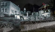 """Phi Kappa Tau took first place overall with this snow statue in Michigan Tech's Winter Carnival. The sculpture, titled """"In the Snow it Shall Appear, a Town of the New Frontier,"""" depicts America in the 1800s. bryan byrnes photography"""