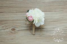 Rustic Boutonniere White Pink Boutonniere by MissHanaFloralDesign