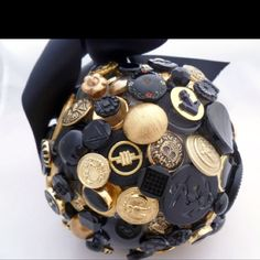black and gold button flower ball
