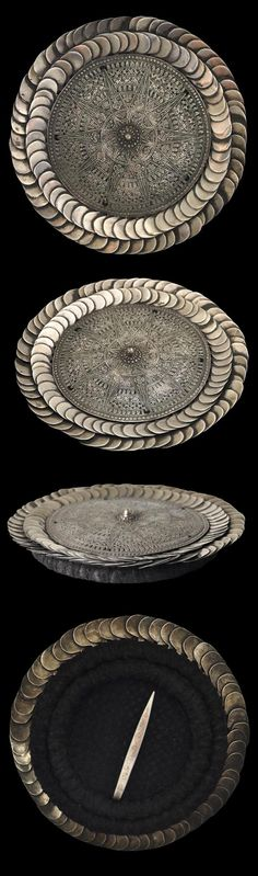 Laos / Northern Thailand / Southern China | Silver celestial headdress.  Backing of woven human hair | Worn by Kim Mun Lantien Sha of the Dao / Yao post-pubescent women   | Early 20th century  || POR