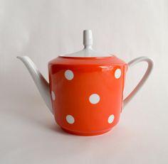vintage orange polka dot teapot