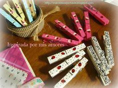 Inspirada por mis amores: ESCRITORIO ORGANIZADO : RETO RECICLANDO - CRAFT JOURNAL-pinzas decoradas