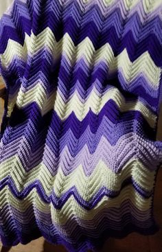 Your place to buy and sell all things handmade Chevron Afghan, Chevron Crochet, Hand Crochet, Knit Crochet, Crochet Ripple Blanket, Purple Couch, Couch Throws, Purple Chevron, Shower Bathroom