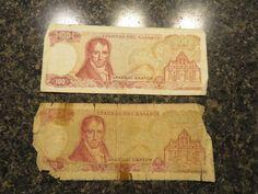 1976 & 1978 Greece Greek Banknotes 100 Drachma  1 of each