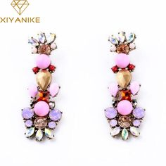 >> Click to Buy << New Fashion Hot Sale Jewelry Bijoux Vintage Style Crystal Flower Drop Earrings For Women Pendientes Brincos XY-E276 #Affiliate