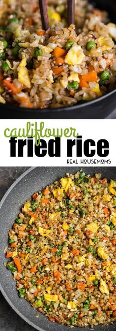 Cauliflower Fried Rice is an easy to make a tasty, low carb meal packed with vitamins and flavor! This rice is so good you won't even think you're eating healthy! via @realhousemoms