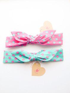 Happy Bunny bow headband kids size polka dot pink green :) party dress retro chic vintage love factory on Etsy, $15.00
