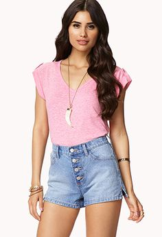 Heathered V-neck Tee | FOREVER21 - 2049951733 to pair with skrit