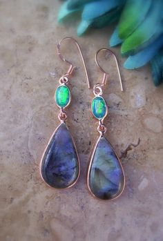 Fire Opal and Labradorite Earrings in Sterling with 14kt Rose gold Bonding by AleaMariCo, $59.00
