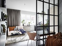 7 Fabulous Tiny Apartment Dining Room Ideas You Need To See Now Appartement Design Studio, Studio Apartment Design, Small Couch In Bedroom, Interior Design Blogs, Tiny Apartments, Studio Apartments, Small Room Design, Apartment Living, Home And Living