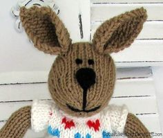 Hand Knitted Bunny Rabbit Toy Plush Doll by cotuitbayknitter, $55.00