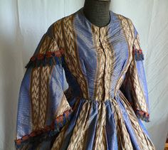 American Civil War Blue Print Dress