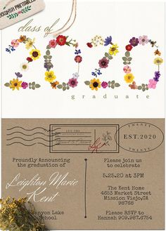 Graduation Announcement Template, Graduation Announcements, Graduation Party Invitations, Graduation Party Decor, Custom Flyers, Vintage Flowers, Party Ideas, Prints