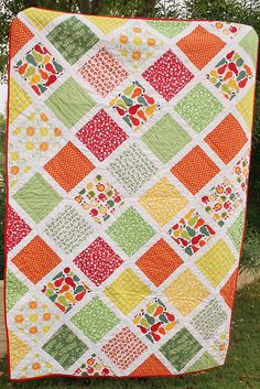 I like the layout of this quilt and how the lines aren't perfect. It makes it feel more special and home made