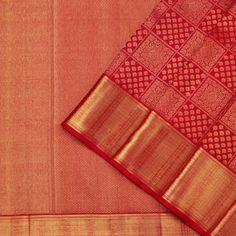 The opulence of the Kanakavalli kanjivaram sari comes into the spotlight for bridal and trousseau choices in the Valli Muhurtham curation. Kanjipuram Saree, Kanjivaram Sarees Silk, Satin Saree, Indian Silk Sarees, Red Saree, Saree Dress, Bridal Sarees South Indian, Indian Bridal Fashion, Latest Silk Sarees