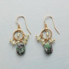 "FORTUITY EARRINGS - Ruby-in-fuchsite varies in tone; these will be among the darkest. Faceted ovals contrast with prehnite rondelles dangling from roped hoops earrings. Exclusive. Handcrafted with 14kt gold filled French wires. 1-3/8""L."
