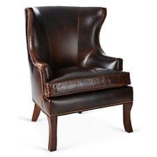Thomas Wingback Chair, Cognac Leather