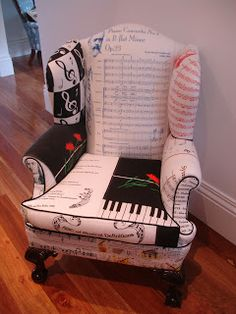 Latest Vintage Tea Towel Creation. Music themed chair. Collect the towels for 6 metres of fabric (which equates to 54 music themed tea towels, which are incredibly hard to find! Patchworking the towels together began.