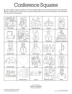 Printable activities for kids during conference. Coloring pages, bingo, find the hidden picture, etc. Activity Day Girls, Activity Days, Church News, Lds Church, General Conference Activities For Kids, Lds Coloring Pages, Kids Coloring, Lds Conference, Church Activities
