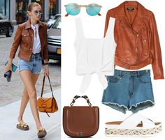 White top+denim shorts+slide sandals+brown leather jacket+brown handbag+sunglasses. Late Summer Casual Outfit 2016