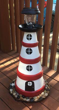Clay pot lighthouse Tontopf Leuchtturm Clay pot lighthouse To. - Clay pot lighthouse Tontopf Leuchtturm Clay pot lighthouse To… - Clay Pot Projects, Clay Pot Crafts, Diy And Crafts, Diy Clay, Decor Crafts, Pots D'argile, Clay Pots, Clay Pot Lighthouse, Garden Lighthouse