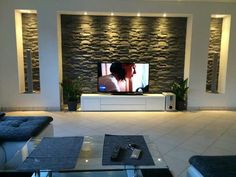 TV installation ideas for every home! Totally throws the monotone . - Jule H. - TV installation ideas for every home! Totally throws the monotone … – - Tv Wall Design, Ceiling Design, Tv Installation, Modern Tv Wall, Plafond Design, Living Room Tv Unit Designs, Tv Wall Decor, Home Living Room, Home Interior Design