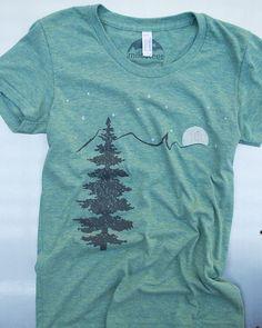 Mountain tshirt, tri blend american apparel,  tree, mountain, moon, stars.  size: s,m, l, xl