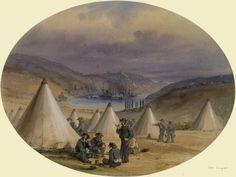 "British sailor encampment"" by William Simpson Crimean War, Tsar Nicholas, Imperial Russia, Balaclava, Ottoman Empire, Black Sea, British Army, Sardinia, Lamb"