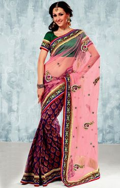 Pink and Magenta Net Saree with Blouse