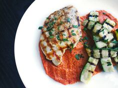 Grilled Chicken and Zucchini With Romesco Sauce
